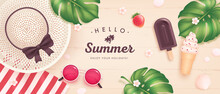 Vector Summer Poster Or Banner With Realistic Sunglasses, Hat, Ice Cream, Tropical Leaf And Flowers On Wooden Background