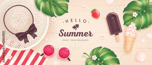 Fotografia Vector summer poster or banner with realistic sunglasses, hat, ice cream, tropic