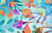 Floral Background With Watercolor Leaves, Abstract Background With Texture And Botanical Pattern In Blue Orange Purple Green And Red Colors, Colorful Floral Background