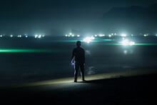 Dreamy Of Man On Beach At Night