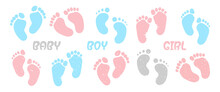 Children's Footprints. Human Feet Standing On The Ground. Isolated On White Background