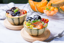Fruit Salad With Yogurt In Carved Melon Cantaloupe Bowl