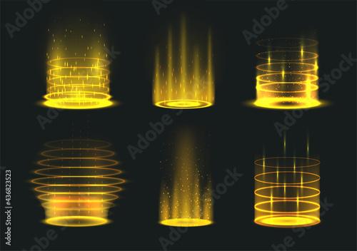 Fotografie, Obraz Portal yellow light effect set vector illustration level up and teleportation br