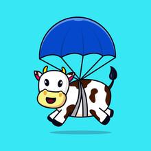 Cow On Parachute Vector Design