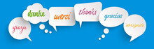 Speech Bubbles With Text Thanks In Different Languages
