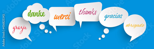 Fotografie, Obraz speech bubbles with text thanks in different languages