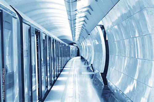 Slika na platnu wagon train subway movement, transportation concept abstract background without