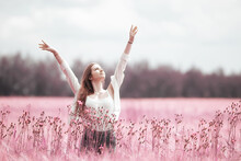 Pink Field Girl Freedom, Nature Springtime Summer Nature Portrait