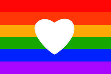 White Heart Shape, Background Rainbow Design Is Symbol Of LGBTQ Community Equity Movement
