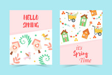 Set Of Spring Banners. Hello Spring With Lettering, Cute Houses, Birds, Birdhouses, Flowers And More. Cute Hand-drawn Illustration.