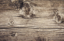 Old Wooden Background, Natural Pattern. Dilapidated Horizontal Plank, Close-up.