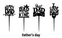 Cake Topper Fathers Day Motivational Quote I Love You Dad With Heart. Laser Cut File, For Cutting Machines.