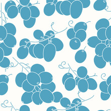 Vector Illustration Seamless Pattern Or Background With Grape Berries, Brunches.