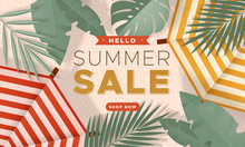 Sale Banner With Summer Beach, Two Parasols And Tropical Leaves.