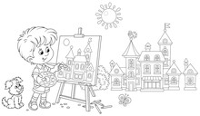 Little Boy With His Cheerful Pup Drawing In Watercolors And Pencils A Pretty Small Town On A Sunny Summer Day, Black And White Outline Vector Cartoon Illustration For A Coloring Book Page