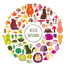 秋の植物と動物のイラスト素材セット