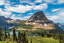 Majestic Bear Hat Mountain  In Summer At The Glacier National Park In Montana.
