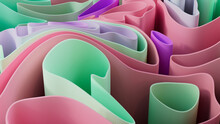 Pink And Green 3D Waves Ripple To Make A Multicolored Abstract Wallpaper. 3D Render.