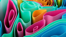 Pink And Blue 3D Undulating Lines Arranged To Create A Multicolored Abstract Background. 3D Render.