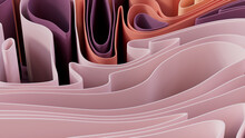 Abstract Wallpaper Formed From Pink And Purple 3D Waves. Multicolored 3D Render.
