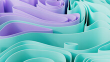 Purple And Aqua 3D Ribbons Form A Multicolored Abstract Background. 3D Render.