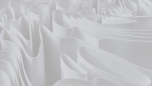 White 3D Undulating Lines Ripple To Make A Light Abstract Wallpaper. 3D Render.