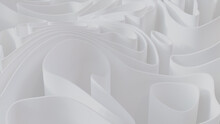 White 3D Undulating Lines Form A Light Abstract Background. 3D Render.