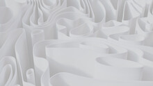 Abstract Background Formed From White 3D Waves. Light 3D Render.