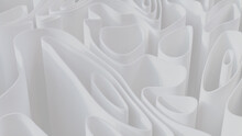 Abstract Wallpaper Made Of White 3D Waves. Light 3D Render.