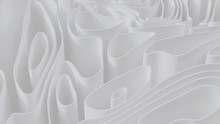 White 3D Ribbons Arranged To Create A Light Abstract Background. 3D Render.