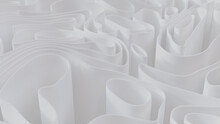 White 3D Undulating Lines Ripple To Make A Light Abstract Background. 3D Render.