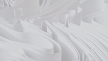 White 3D Ribbons Form A Light Abstract Background. 3D Render.