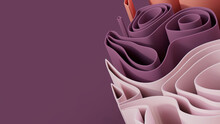 Abstract Wallpaper Created From Pink And Purple 3D Waves. Multicolored 3D Render With Copy-space.