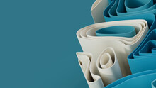 Abstract Wallpaper Made Of Blue And White 3D Ribbons. Multicolored 3D Render With Copy-space.
