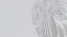 White 3D Undulating Lines Arranged To Create A Light Abstract Wallpaper. 3D Render With Copy-space.