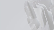White 3D Undulating Lines Ripple To Make A Light Abstract Background. 3D Render With Copy-space.
