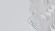 Abstract Background Created From White 3D Undulating Lines. Light 3D Render With Copy-space.