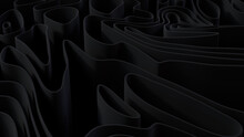 Black 3D Undulating Lines Ripple To Make A Dark Abstract Wallpaper. 3D Render.