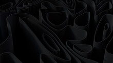 Abstract Wallpaper Created From Black 3D Waves. Dark 3D Render.