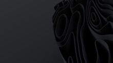 Black 3D Ribbons Form A Dark Abstract Background. 3D Render With Copy-space.