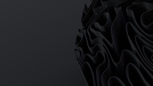 Black 3D Waves Arranged To Create A Dark Abstract Background. 3D Render With Copy-space.
