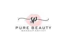 Initial SP Watercolor Lips Premade Logo Design, Logo For Makeup Artist Business Branding, Blush Beauty Boutique Logo Design, Calligraphy Logo With Creative Template.