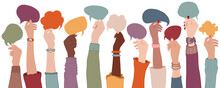 Arms And Hands Holding Speech Bubble. Agreement Or Affair Between A Group Of Multiethnic Colleagues Or Collaborators. Diversity People Who Sharing Information. Co-workers. Community