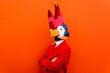 Leinwandbild Motiv Cool man wearing 3d origami mask