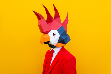 Cool man wearing 3d origami mask