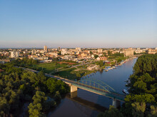 The Town Of Pancevo And The Tamis Promenade. Aerial Photography.