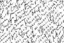 Grunge Texture Of Unreadable Handwritten Text. Monochrome Background Of Diagonal Slanted Uneven Lines Of A Manuscript Written In A Careless Illegible Handwriting. Overlay Template. Vector Illustration