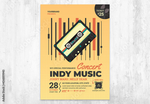 Indy Music Festival Poster Flyer with Indie Vintage Tape