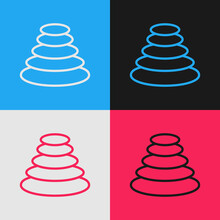 Pop Art Line Stack Hot Stones Icon Isolated On Color Background. Spa Salon Accessory. Vector