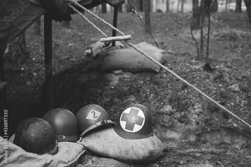 Metal Helmets Of United States Army Infantry Soldier At World War II Fototapet